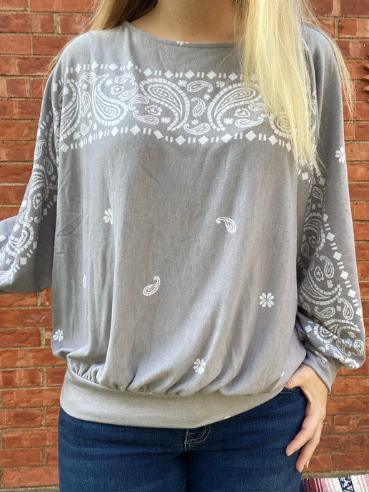 Grey Bandana Top