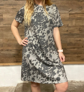 Charcoal Cowhide Dress