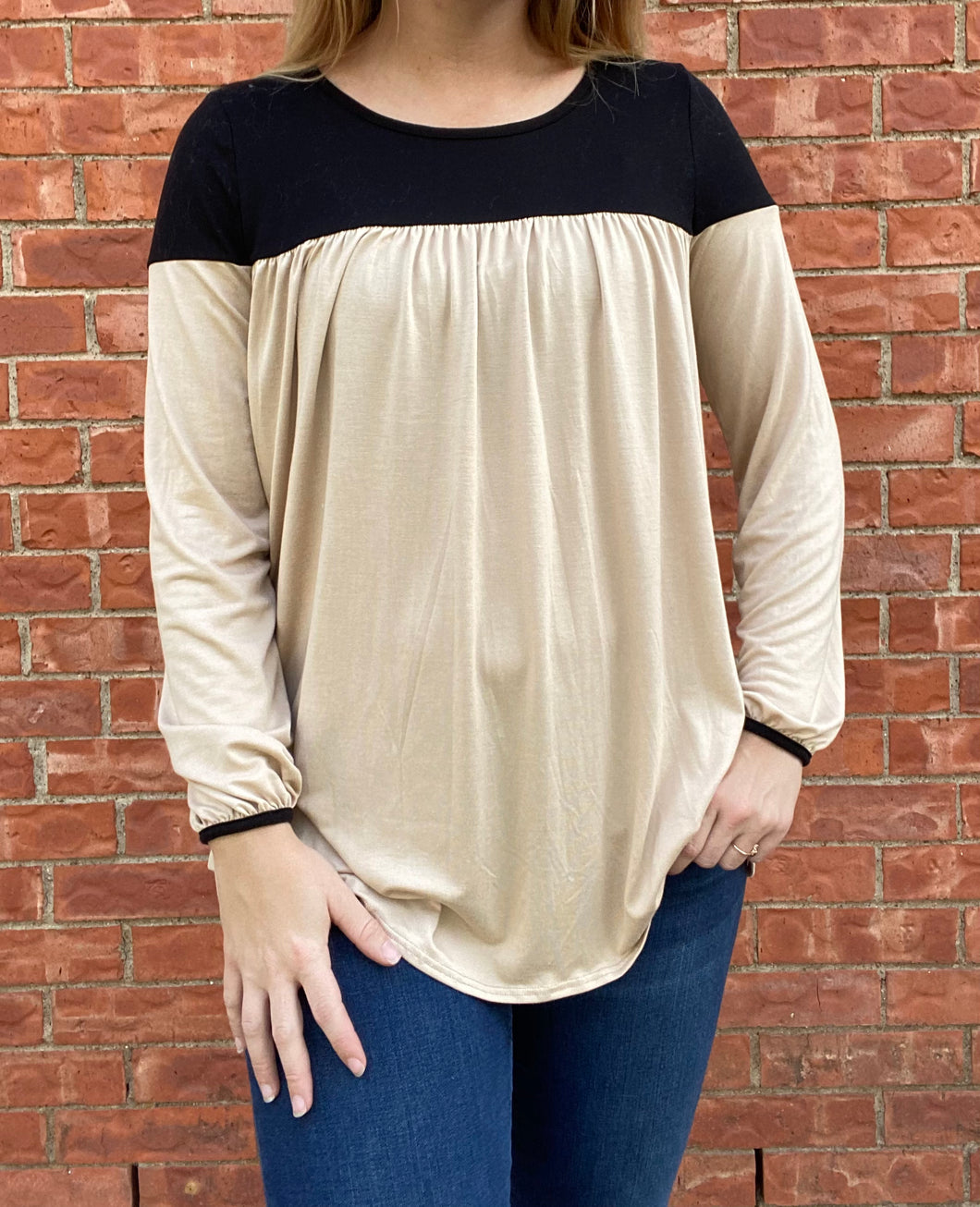 Black and Tan blouse