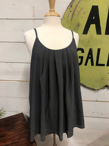 Grey Pleated Tank - The Desert Paintbrush