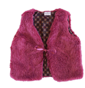 Burgundy Faux Fur Girls Vest - The Desert Paintbrush