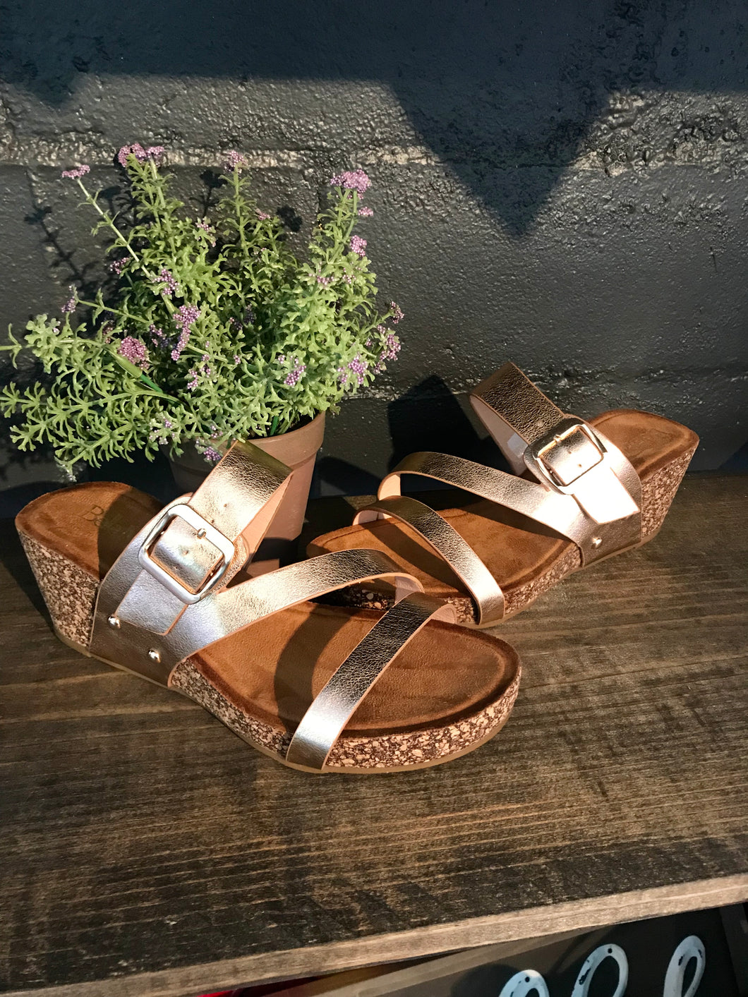 Rose Gold Strappy Wedges - The Desert Paintbrush