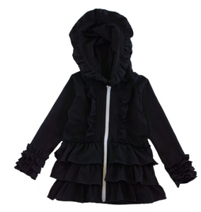 Black Ruffle Girls Hoodie - The Desert Paintbrush