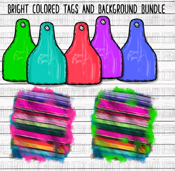 Bright colored Cow Tag and Serape Background- BUNDLE