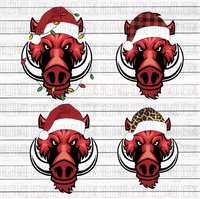 Hog in Santa hat- BUNDLE