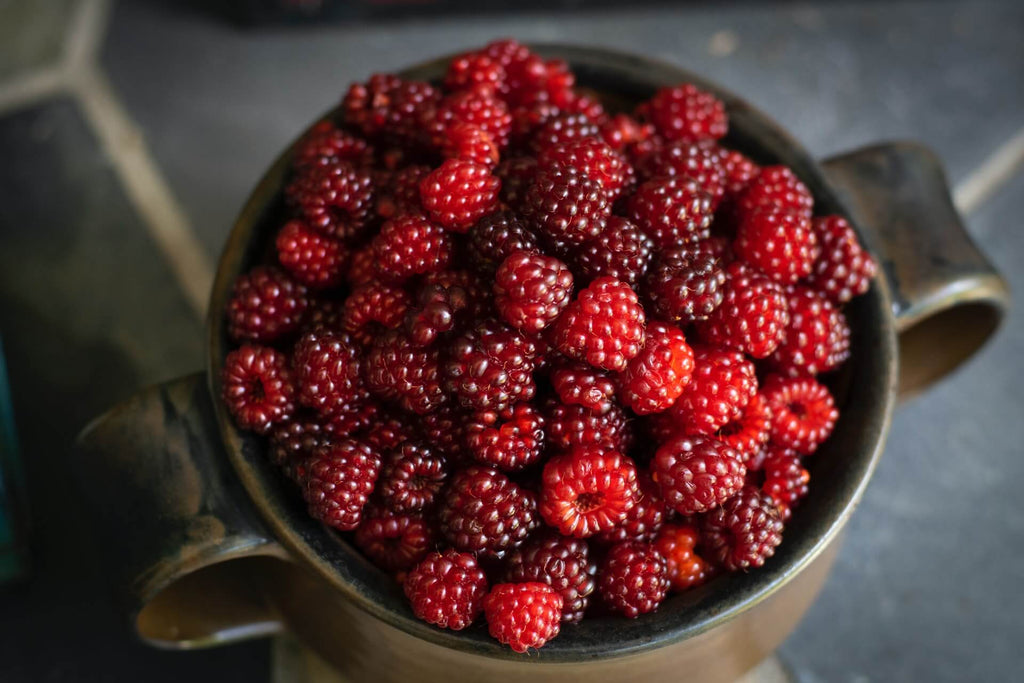many pieces of red berries in a stainless steel bowl