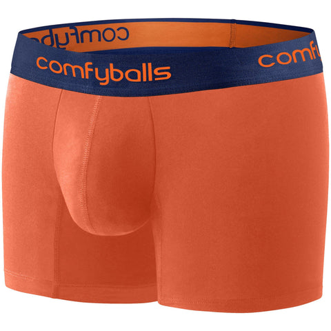 Comfyballs Men's Boxer Orange Navy Cotton LONG
