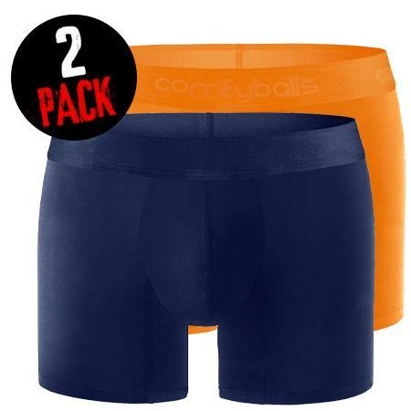 Comfyballs Navy No Show & Ghost Flame Orange Cotton LONG bundle