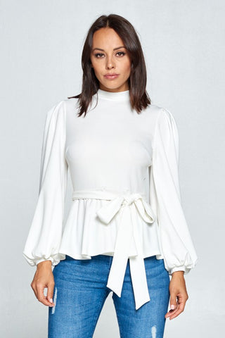 Puff Sleeve Ruffle White Top