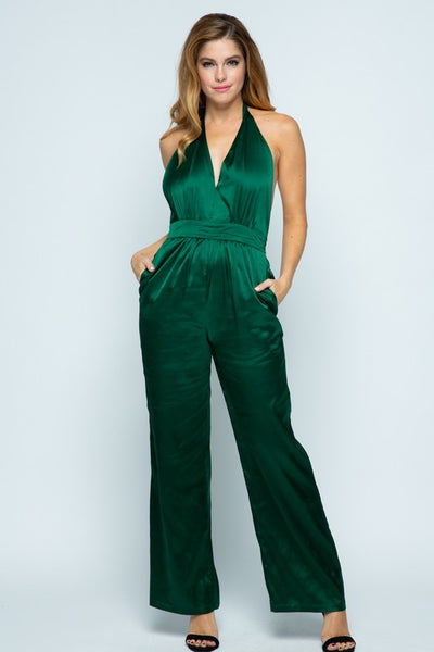 Tea & Cup Halter Backless Jumpsuit