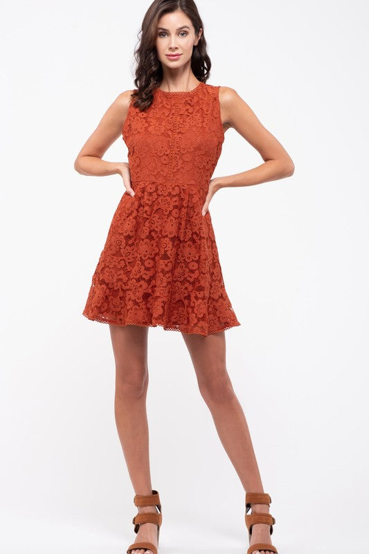 Ruffle Hem Lace Dress - Sensual Fashion Boutique