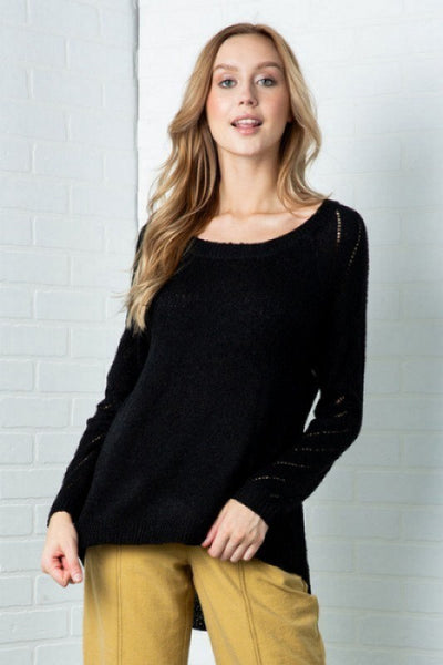 High Low Hem Black Sweater - Sensual Fashion Boutique