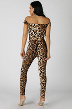 Load image into Gallery viewer, Leopard Print Off Shoulder Jumpsuit - Sensual Fashion Boutique