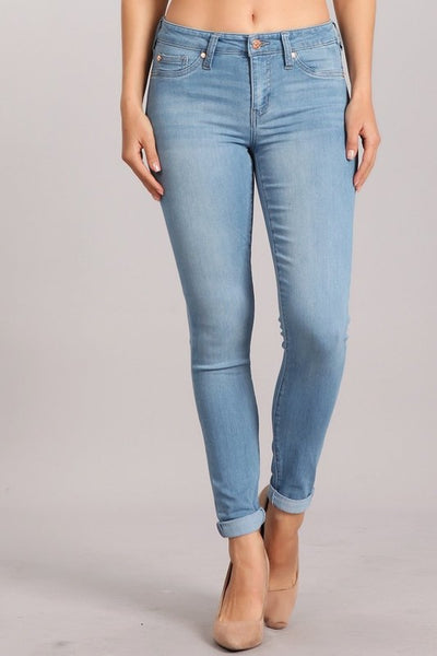 Celebrity Pink Roll Cuff Skinny Jeans - Sensual Fashion Boutique