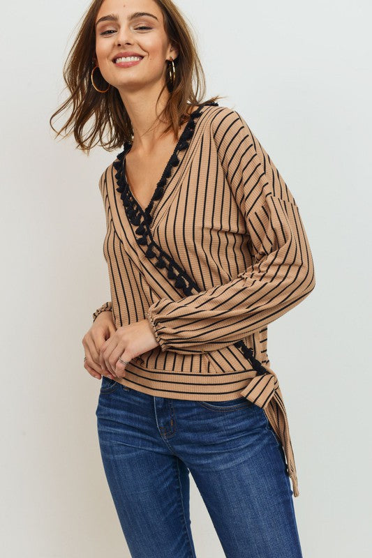 Stripe Shirt V Neck Tassel Tie Knit Wrap Sweater - Sensual Fashion Boutique