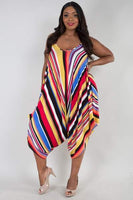Multi Color Stripe Plus Jumpsuit - Sensual Fashion Boutique