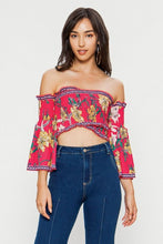 Load image into Gallery viewer, Jealous Tomato Floral Print Off Shoulder Ruffle Trim Top - Sensual Fashion Boutique