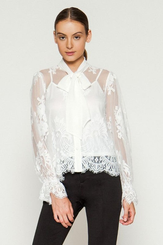 Jealous Tomato Floral Lace Sheer Top - Sensual Fashion Boutique