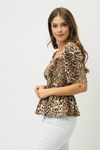 Load image into Gallery viewer, Tea & Cup Animal Print Smocked Peplum Top - Sensual Fashion Boutique