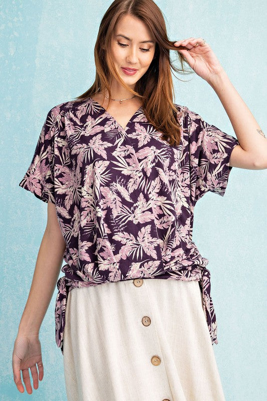 Easel Get Tropical Printed Side Tie Surplice Top - Sensual Fashion Boutique