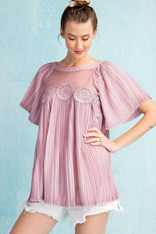Easel Vintage Rose Bell Sleeve Pleated Tunic Top - Sensual Fashion Boutique