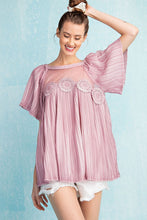 Load image into Gallery viewer, Easel Vintage Rose Bell Sleeve Pleated Tunic Top - Sensual Fashion Boutique