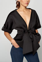 Load image into Gallery viewer, Short Sleeve Ribbon Detail Black Top - Sensual Fashion Boutique