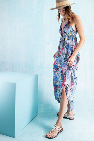 Easel Modly In Love Floral Print Boho Maxi Dress