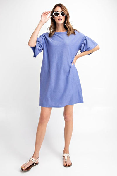 Easel Relaxed Fit Pinstripe Ruffle Sleeve Midi Dress