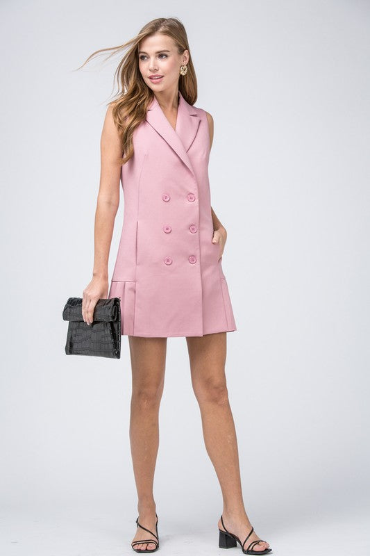 Dusty Rose Pleated Blazer Dress - Sensual Fashion Boutique