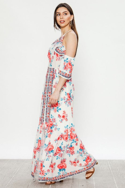 Flying Tomato Cold Shoulder Floral Print Maxi Dress - Sensual Fashion Boutique