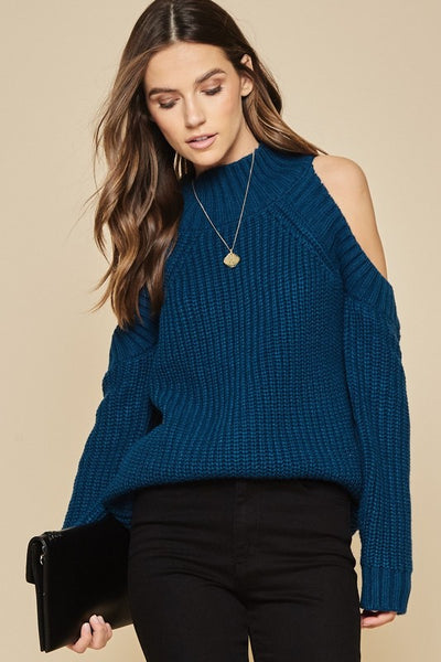 Deep Jade Cold Shoulder Sweater - Sensual Fashion Boutique