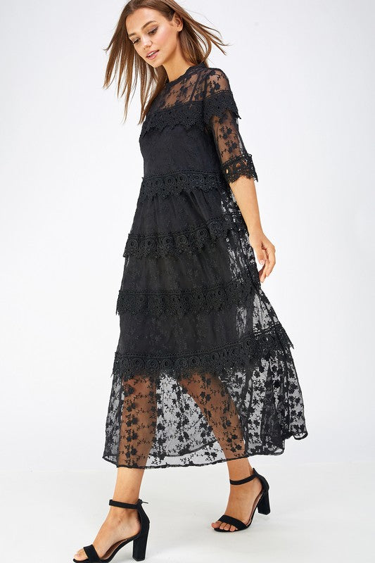 Crochet Lace Tiered Long Dress - Sensual Fashion Boutique