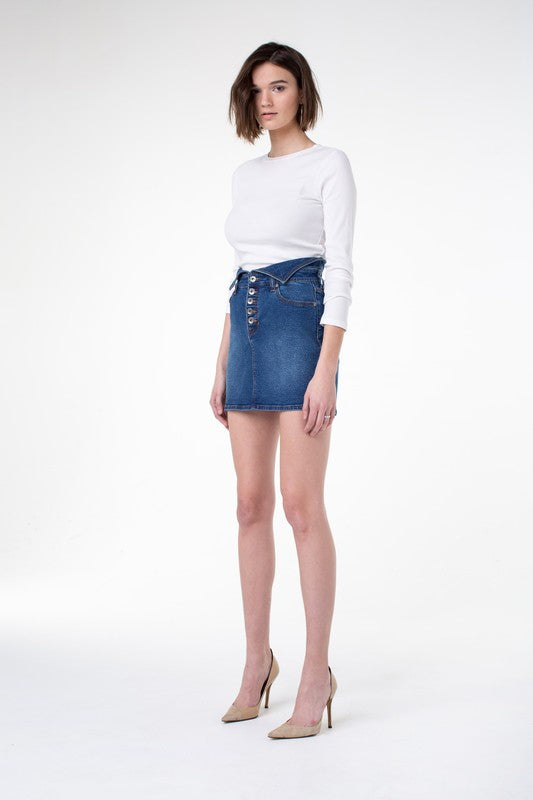 Kendall + Kylie Flipped Denim Skirt - Sensual Fashion Boutique