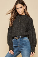 Balloon Sleeve Mock Neck Charcoal Sweater - Sensual Fashion Boutique