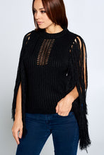 Load image into Gallery viewer, Knitted Fringe Black Sweater - Sensual Fashion Boutique