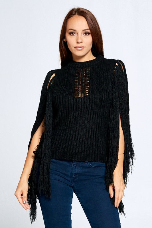 Knitted Fringe Black Sweater - Sensual Fashion Boutique