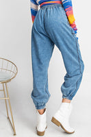 Washed Denim Jogger Pants