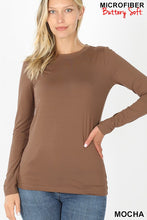 Load image into Gallery viewer, Zenana Ultra Soft Long Sleeve Microfiber Crew Neck Tee - Sensual Fashion Boutique
