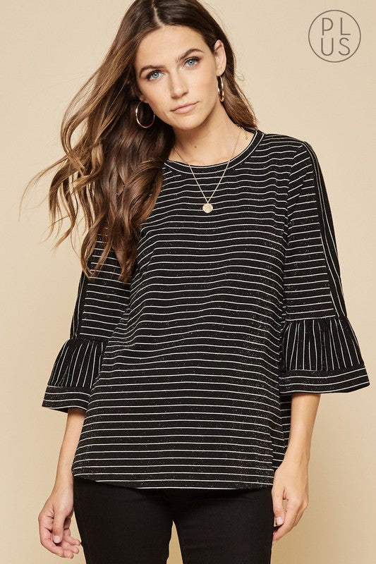 Plus Size Crepe Bell Sleeve Top - Sensual Fashion Boutique