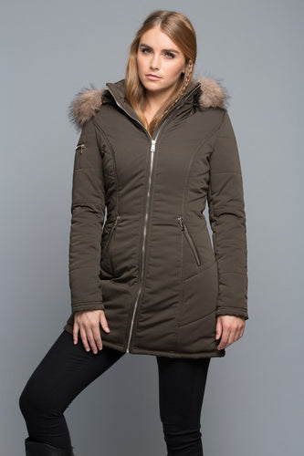 Faux Fur Olive Puffer Jacket - Sensual Fashion Boutique