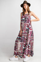 Easel Sleeveless Loose Fit Floral Print Maxi Dress