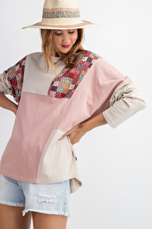 Easel Dolman Sleeve Patch It Up Tee - Sensual Fashion Boutique