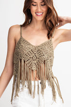 Load image into Gallery viewer, Knitted Crochet Cami Boho Fringe Top - Sensual Fashion Boutique