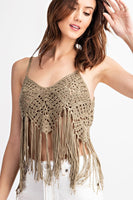 Knitted Crochet Cami Boho Fringe Top