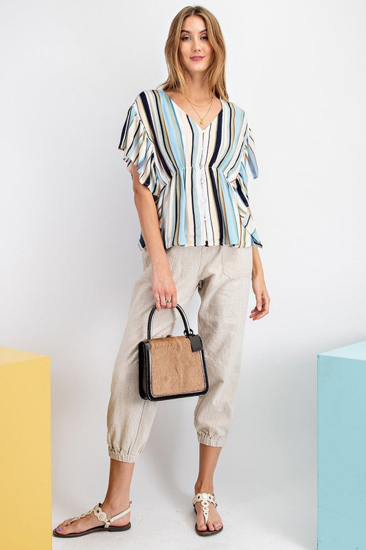Easel Wing Sleeve Striped Rayon Top - Sensual Fashion Boutique