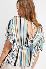 Load image into Gallery viewer, Easel Wing Sleeve Striped Rayon Top - Sensual Fashion Boutique