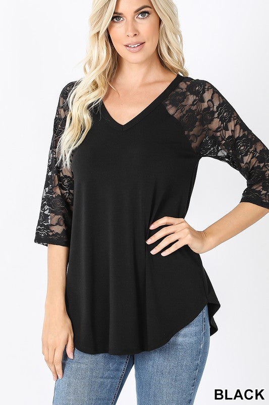 Zenana 3/4 Lace Sleeve Dolphin Hem V-Neck Top - Sensual Fashion Boutique