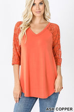 Load image into Gallery viewer, Zenana 3/4 Lace Sleeve Dolphin Hem V-Neck Top - Sensual Fashion Boutique