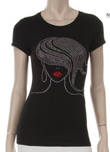 Load image into Gallery viewer, Waving Hair Sister Girl Rhinestone Tee - Sensual Fashion Boutique